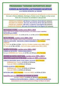Cursos Natación y Act Acuáticas - Catálogo Actividades 2016