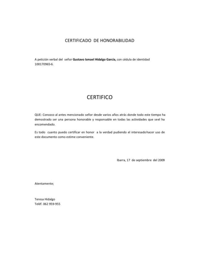 certificado de honorabilidad ecuador