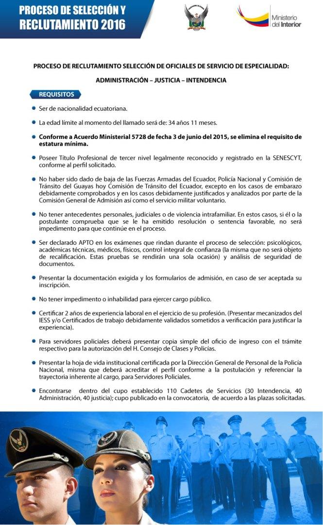 Reclutamiento y selecci n de oficiales polic a nacional for Llamado del ministerio del interior 2016