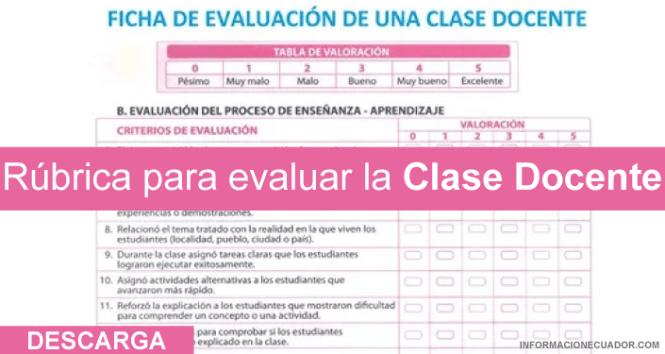 rubrica para evaluar clase docente informacionecuador.com 2017 ministerio de educacion