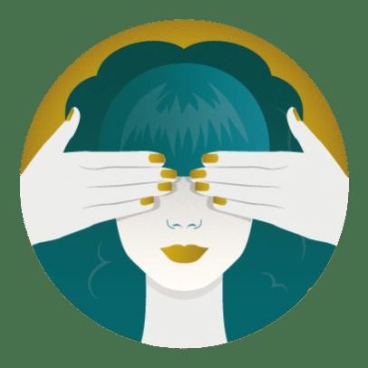 Persona tapándose los ojos