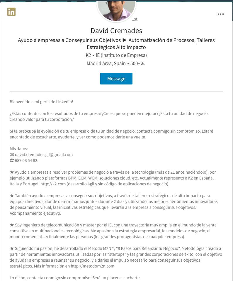 Cómo redactar un buen extracto profesional en LinkedIn. Qué aportas