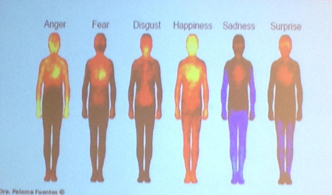 foto de la energía que emite el cuerpo en función del estado de ánimo. El estado de felicidad muestra máxima energía en el pecho y en la cabeza. En el enfado la máxima energía está en las manos. Con tristeza, el cuerpo no tiene energía.