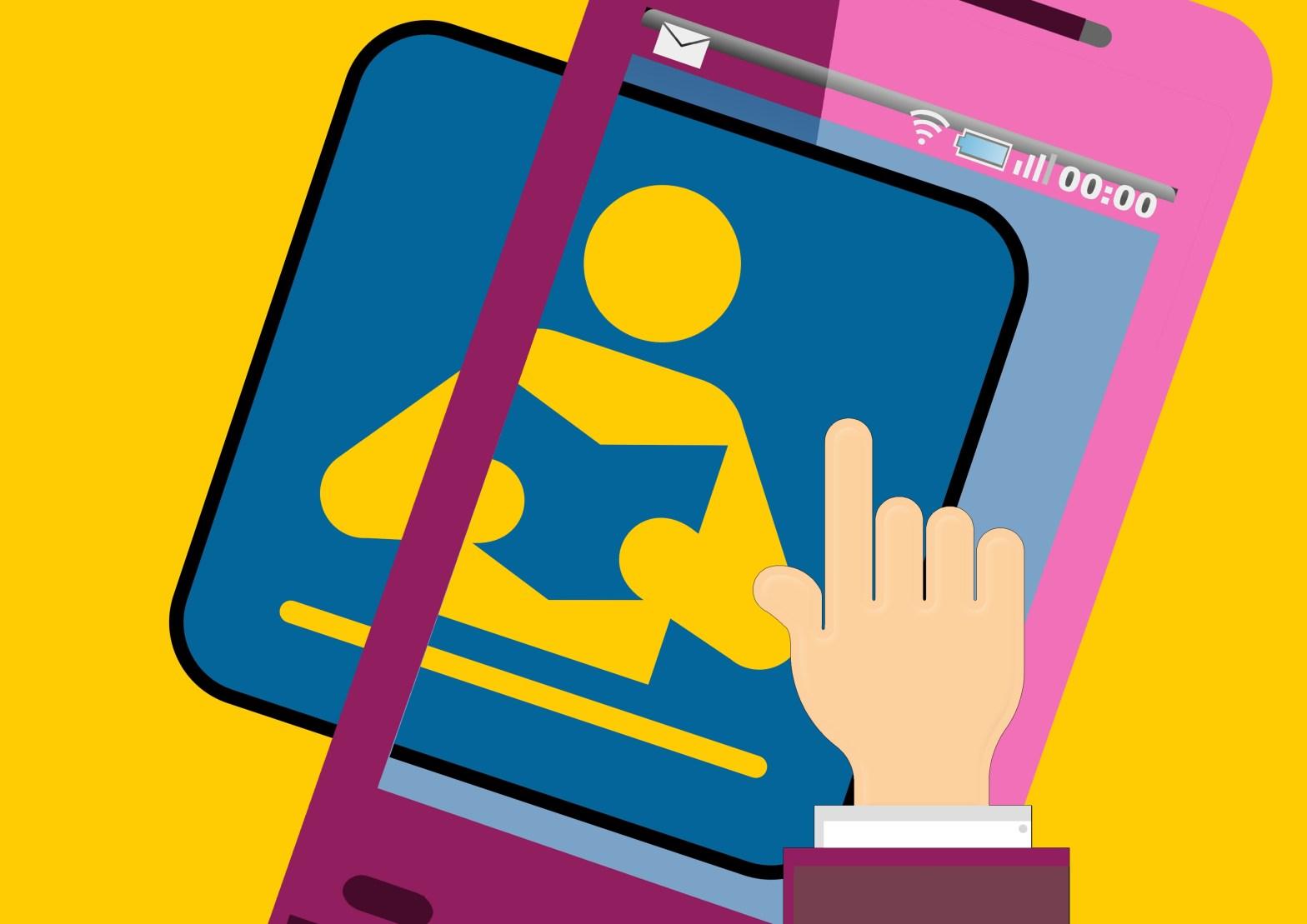Imagen de un celular con un libro en la pantalla