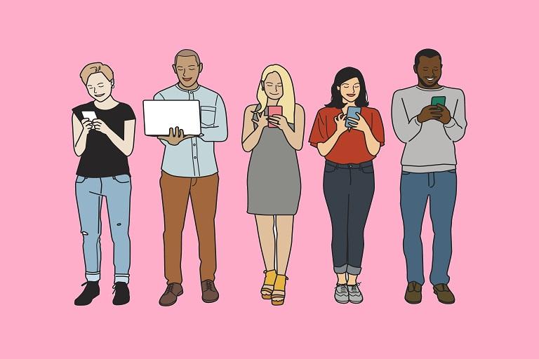 Imagen que muestra personas leyendo en varios dispositivos digitales