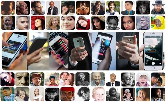 fotos de personas, grupos, familias y manos con celulares