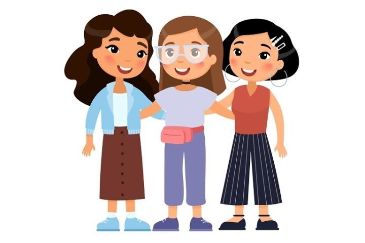 Imagen que muestra las caricaturas de tres mujeres amigas