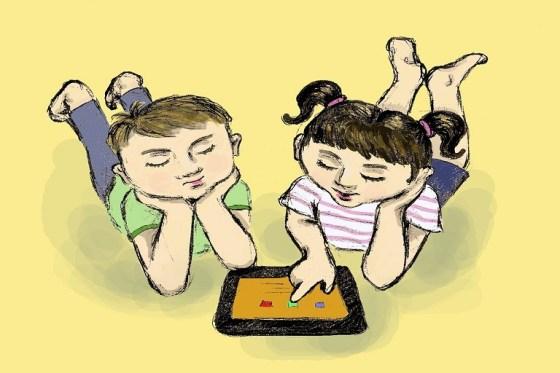 dibujos de un niño y una niña con una tableta