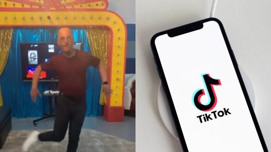 señor bailando y celular con logo de TikTok