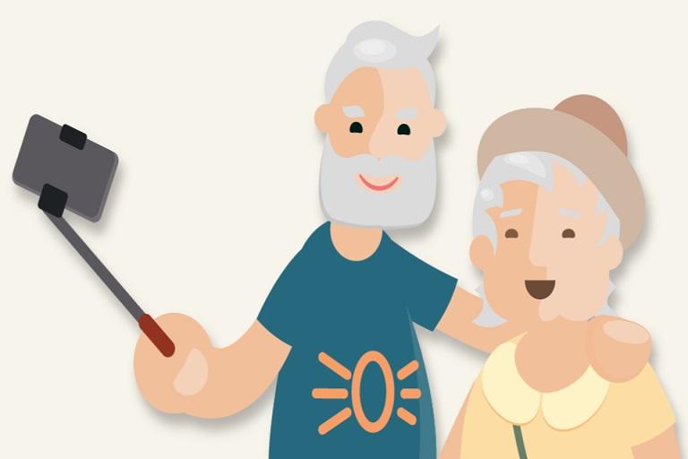 imagen que muestra un anciano y una anciana haciendo selfis