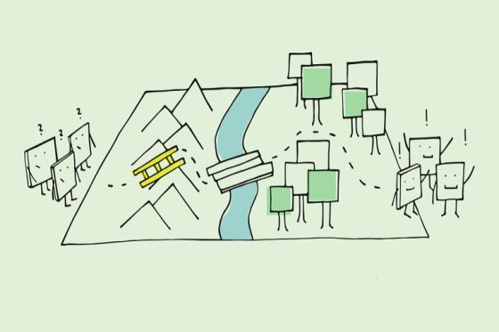 Imagen que muestra varios personajes cuadrados que pasan por una montaña, un río y un bosque