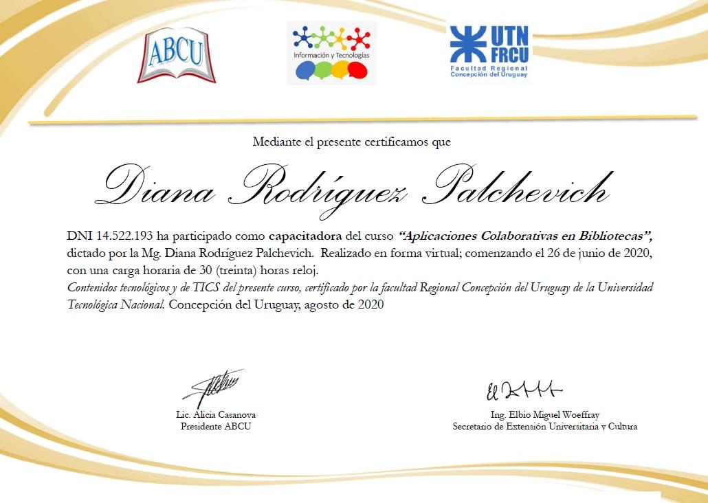 certificación por el curso