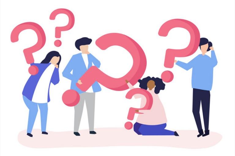personas con signos de preguntas