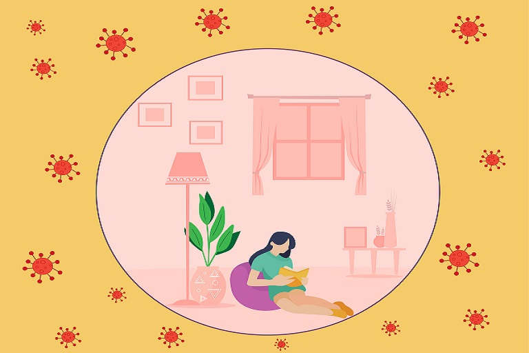 Imagen que muestra una mujer leyendo en el piso, una lámpara, un escritorio, una ventana