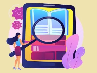 Imagen que muestra mujer, celular, libro y lupa