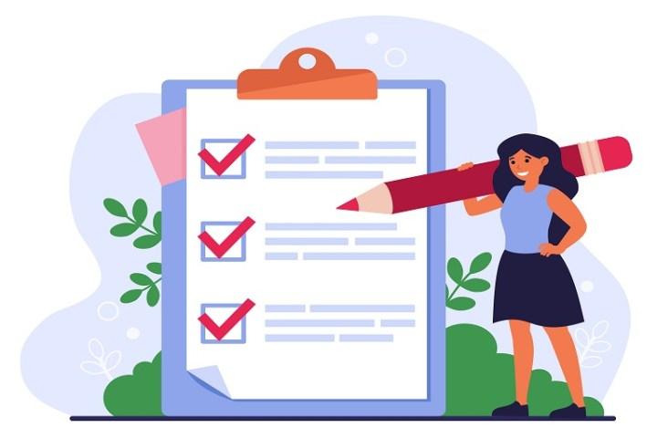 Imagen que muestra una mujer, un lápiz y un formulario de encuestas