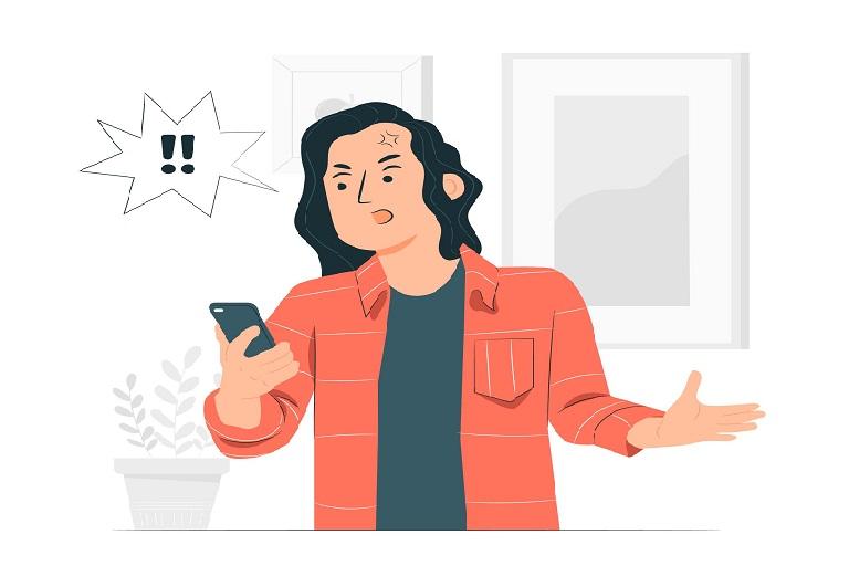 Imagen que muestra un hombre enojado con un celular