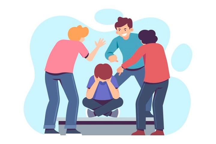 Imagen que muestra adolescentes que molestan a otro