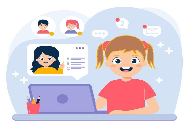imagen que muestra una niña en clase conectada a una computadora