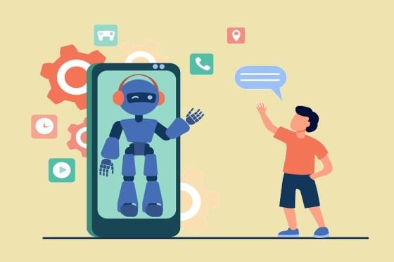 imagen que muestra un niño con un celular y un robot