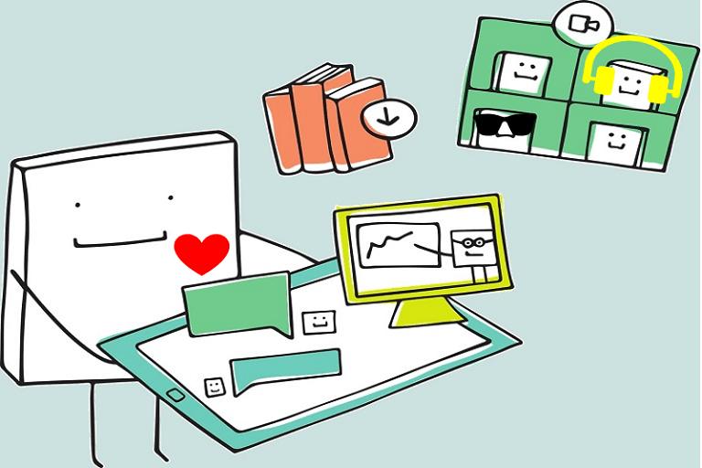 Imagen que muestra una caricatura ofreciendo recursos en varios formatos alternativos