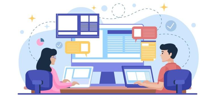Imagen que muestra el dibujo de dos personas frente a computadoras y dispositivos