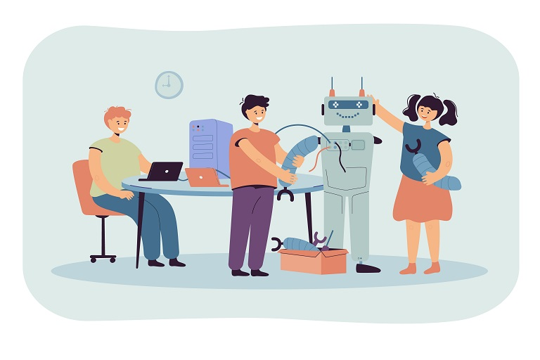 Niños y niña construyendo un robot