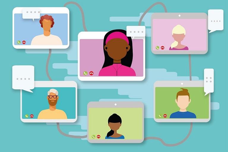 dibujos de personas en videoconferencia