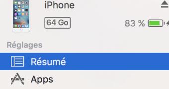 iTunes résumé iPhone