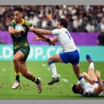 Wallabies move to top of Pool D with bonus-point win