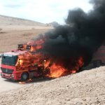 Tourists escape unhurt from burning rolling hotel
