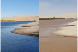 Rain water flows into the sea at Kunene River mouth