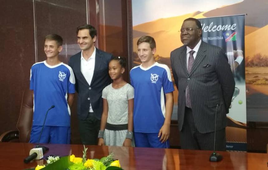 President Geingob tennis Federer