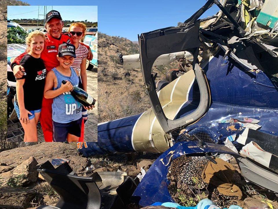 Jaco van Dyk helicopter pilot children survived crash outskirts Windhoek
