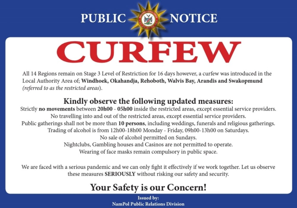 Inspector-General Namibian Police Lieutenant General Sebastian Ndeitunga public comply rule cerfew enforced