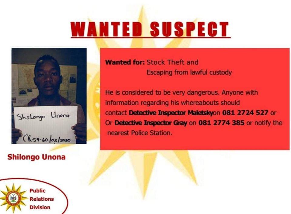 Dangerous criminals missing Namibian Police Okahandja prisoners escaped