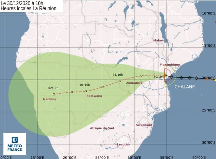 Tropical storm Namibia low-pressure system tropical storm Chalane