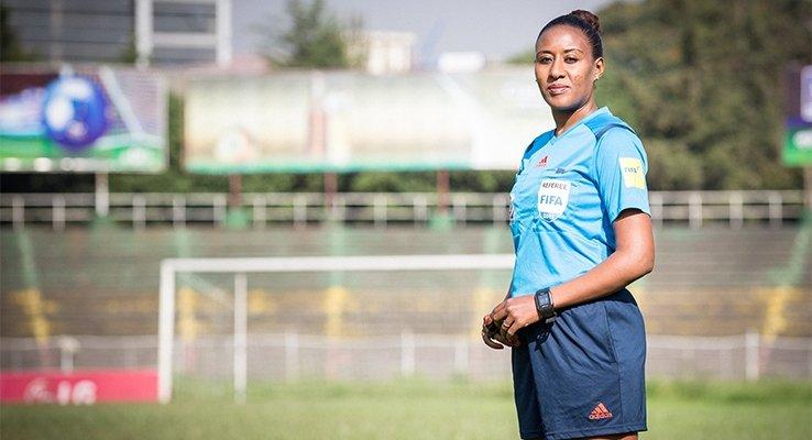 Historic moment Africa football Namibia female referee Lydia Tadesse Ethiopia