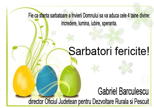 felictare paste Gabriel Barculescu