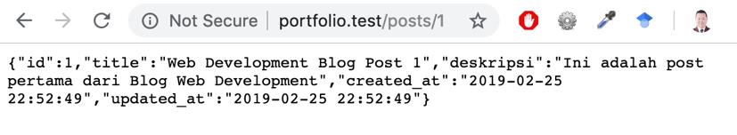 Data JSON yang dihasilkan pada contoh Single Data