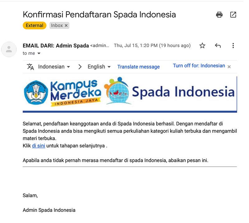 Contoh Tampilan Email konfirmasi pendaftaran