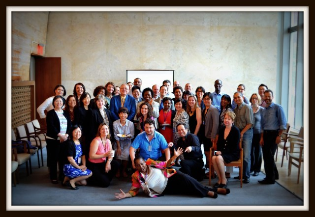 The staff of the Dag Hammarsjkold Library, the library of the United Nations headquarters in New York. It is considered to be a parliamentary library. The occasion was my departure back to the European Parliament after a little over two years as Chief. Another great team. The photo was taken in the original main reading room of the Library, closed at that point due to financial cut-backs and reduced stock to display. One project was to get it re-opened, which has happened since.
