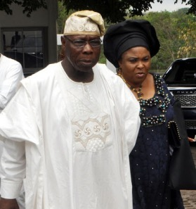 CHIEF OLUSEGUN OBASANJO AT THE PRESIDENTIAL VILLA ON SUNDAY. DAME PATIENCE JONATHAN IN THE BACKGROUND