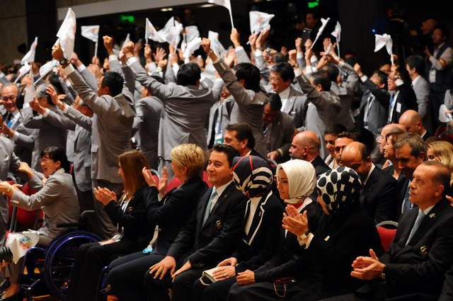 Japan's Bidding Contingents Celebrates.