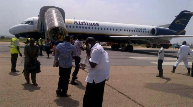 PASSENGERS DISEMBARKING FROM THE IRS AIRCRAFT AFTER THE PILOT MADE AN EMERGENCY LANDING IN KADUNA YESTERDAY