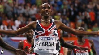 Mo Farah Crossing the Finish Line in the 10,000m at Moscow's World Championships.