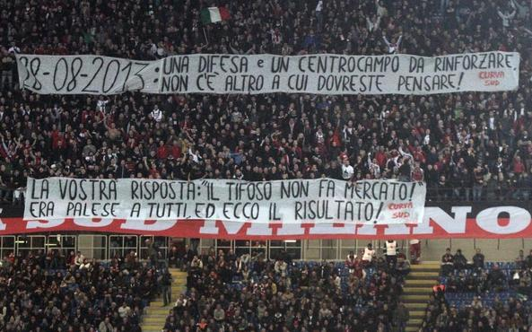 AC Milan Fans with a Banner Calling Out the Club for their (lack of) Summer Signings
