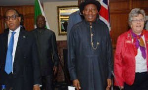 Minister of Trade and Investment, Dr Olusegun Aganga; President Goodluck Jonathan and The Council Co-Ordinator, Honorary Investors Council (HIIC), Baroness Lynda Chalker Of Wallasey