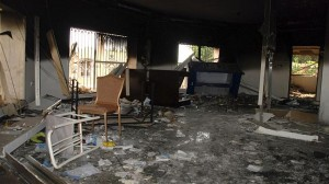 Glass, debris and overturned furniture in one of the rooms at the US embassy attacked in Libya