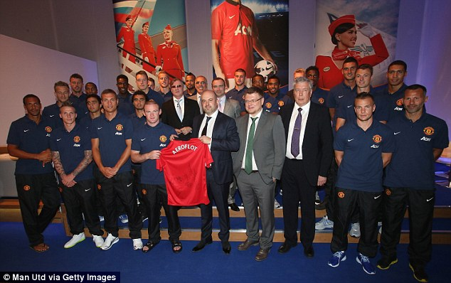 United Players Gathered for the Formal Launching of a New Partnership With Russian Airline Aeroflot Last Summer.